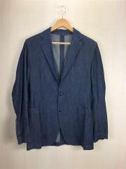3Bテーラードジャケット/シャンブレー/インディゴ/デニム/藍色/3ポケット/M/綿/使用感/