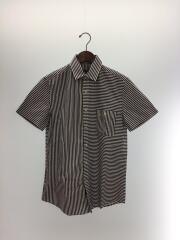 半袖シャツ/コットン/ネイビー/紺/ストライプ/トップス/ボーダー/5002-008