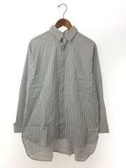 ビッグダブルカフスストライプシャツ/長袖シャツ/S/コットン/WHT/ストライプ/