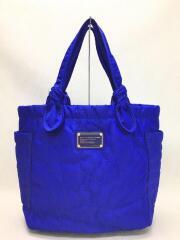 トートバッグ/--/ブルー/青/無地/ロゴプレート/ジップポケット/刺繍/サイドポケット