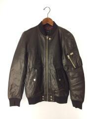 レザージャケット/ブルゾン/S/羊革/ブラック/肩ポケット/ボタンデザイン/トップス/アウター