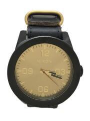クォーツ腕時計/アナログ/レザー/GLD/BLK/NA243010/レザーベルト/調節可