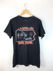 Tシャツ/M/コットン/BLK/総柄/ブラック
