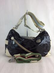 ハンドバッグ/ショルダーバッグ/鞄/2WAY/エナメル/ブラウン/茶/ジップ/イタリア製