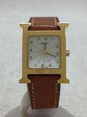 クォーツ腕時計/アナログ/レザー/WHT/CML// H WATCH Hウォッチ HH1.201
