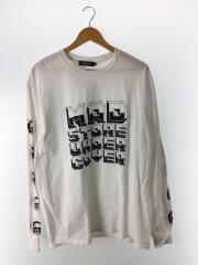 長袖Tシャツ/XL/コットン/ホワイト/MADSTORE/ロンt/プリント/鬼/ドメ/アンカバ