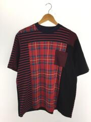 20SS/Tシャツ/3/チェック/WM2071518/CHECK CONTRASTED T-SHIRT/レッド