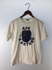 クルーネックTシャツ/S/コットン/ホワイト/白/プリント