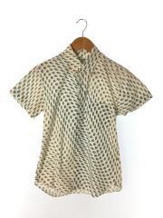 半袖シャツ/S/コットン/ホワイト/総柄/S17168/胸ポケット/首回り汚れ有/トップス