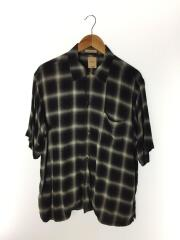 18SS/OMBRE CHECK S/S OPEN SHIRTS/半袖シャツ/2/レーヨン/グレー/オンブレCK