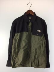 L/S Nuptse Shirt/NR11961/長袖シャツ/L/ナイロン/カーキ