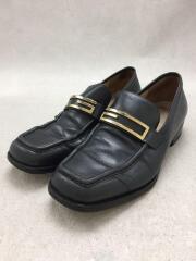 スクエアトゥローファー/Gロゴ/36.5/ブラック/黒/レザー/シューズ/靴/100 0447