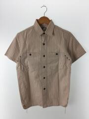 半袖シャツ/コットン/ベージュ/ストライプ/レプリカ/アメカジ/トップス/胸ポケット