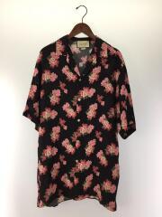 20SS/ピオニー/GGジャカード/ボウリングシャツ/半袖シャツ/48/シルク/黒/625502