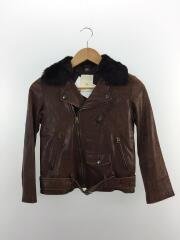 ダブルライダースジャケット/サイズ:140/羊革/ブラウン/1830402502