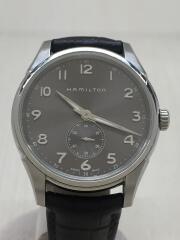 クォーツ腕時計/アナログ/レザー/シルバー/ブラック/使用感、汚れ、状態考慮