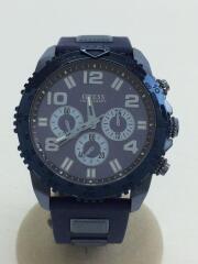 COMPASS/コンパス/クロノグラフ/クォーツ腕時計/アナログ/ラバー/ネイビー/W0599G4