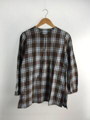 プルオーバーネルシャツ/3/コットン/ブラウン×ブルー/チェック