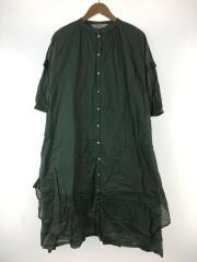 半袖ワンピース/ギャザー/コットン/グリーン/720380