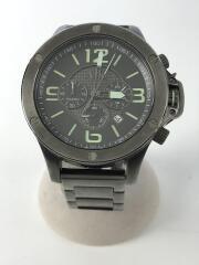 クォーツ腕時計/アナログ/--/BLK/SLV/裏蓋数か所錆アリ