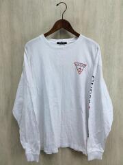 長袖Tシャツ/ロンT/袖プリ/M/コットン/ホワイト/白