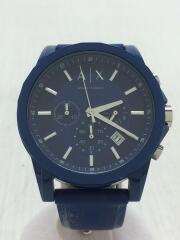 クォーツ腕時計/アナログ/ラバー/BLU/BLU
