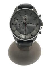 クォーツ腕時計/アナログ/レザー/シルバー/ブラック/7T92-0MF0/クロノグラフ