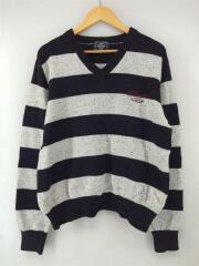 セーター(厚手)/L/カシミア/グレー/ボーダー