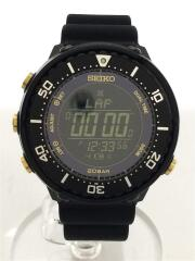 ソーラー腕時計/デジタル/ラバー/ブラックイ/黒/S802-00A0