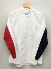 バイカラー長袖シャツ/S/コットン/ホワイト/白/トリコロール