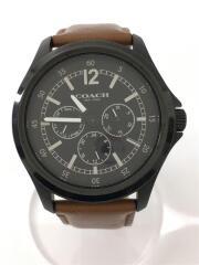 クォーツ腕時計/クロノグラフ/アナログ/レザー/黒/ブラック/ブラウン/CA.94.2.95.1195