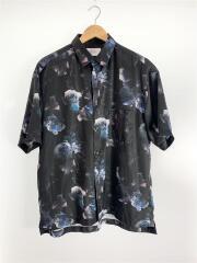 NERダークフラワーアロハシャツ/109302005/半袖シャツ/2/ポリエステル/BLK/花柄