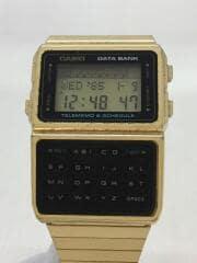 クォーツ腕時計・DATEBANK/デジタル/YLW/GLD