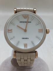 クォーツ腕時計/アナログ/セラミック/WHT