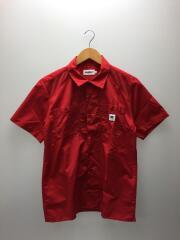 半袖シャツ/MESH PANEL WORK/01162407/M/ポリエステル/RED/無地