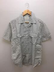ヒッコリーショートスリーブオープンカラーシャツ/01-8052-181-SS/5/コットン/WHT/ボーダー