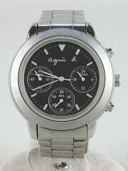 クォーツ腕時計/アナログ/ステンレス/クロノグラフ/BLK/SLV/V654-6100/アニエスベー