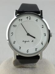クォーツ腕時計/アナログ/レザー/WHT/BLK/VJ20-KZX0/アニエスベー