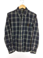 長袖シャツ/チェックシャツ/36/コットン/NVY/グリーン/チェック/フラットヘッド