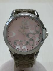 クォーツ腕時計/シグネチャーキャンバスベルト/ピンク文字盤/ベージュ/3気圧防水