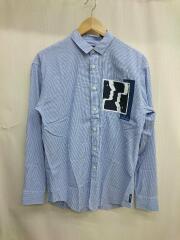 グラフィックプリントシャツ/BDシャツ/長袖シャツ/XS/コットン/ブルー/ストライプ/中古