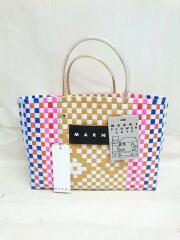 MARNI FLOWER CAFE/SHOPPING BAG/編み込みカゴバッグ/マルチカラー/タグ付