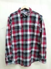 L/Sワークシャツ/ネルシャツ/L/コットン/レッド/赤/チェック/中古
