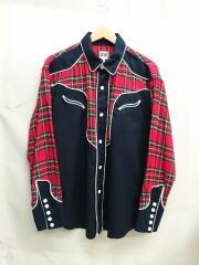 18AW/WSMB jacket/パイピングウェスタンシャツ/S/ネイビー/紺/レッド/赤/チェック