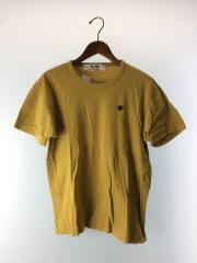ハートワッペンロゴ/ワンポイントロゴ/Tシャツ/L/コットン/イエロー/黄/無地/中古