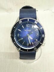 10気圧防水/3針/クォーツ腕時計/アナログ/ナイロン/ネイビー/紺/中古