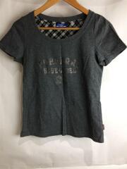 バーバリーブルーレーベル/Tシャツ/38/コットン/GRY/プリント/FA516-262-08