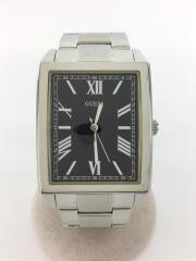 クォーツ腕時計/アナログ/BLK/SLV/W0080G1/ガラスキズ有