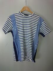 11SS/ペンキ加工異素材切替ボーダーTシャツ/XS/コットン/WHT/HI-T047