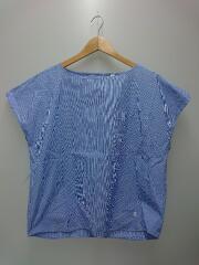 フレンチスリーブプルオーバーシャツ/半袖シャツ/14/コットン/BLU/ストライプ